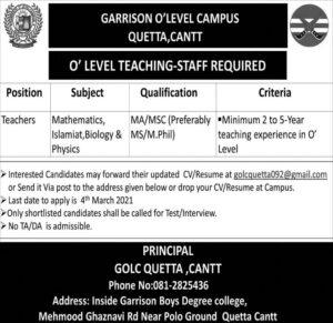Teaching Staffing 2021 at Garrison O Level Campus GOLC