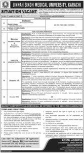 Teaching Staffing Jobs 2021 at Jinnah Sindh Medical University Karachi