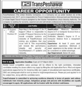 TransPeshawar IT Support Officer Jobs 2021 at The Urban Mobility Company