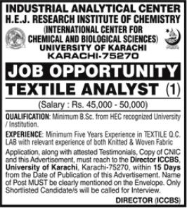 University of Karachi Job 2021 For Textile Analyst in Karachi for Textile Analyst