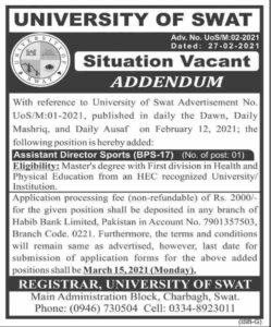 University of Swat Job 2021 For Assistant Director Master Base