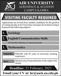 Visiting Faculty Required 2021 at Air University Aerospace & Aviation Campus Kamra
