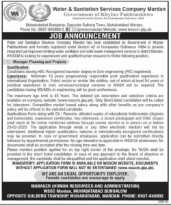Water & Sanitation Services Company Mardan Jobs 2021 for Manager Planning an Projects
