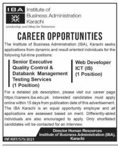 Web Developer Jobs 2021 at Institute of Business Administration IBA