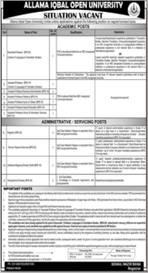 Allama Iqbal Open University Jobs 2021 for Associate Professor etc