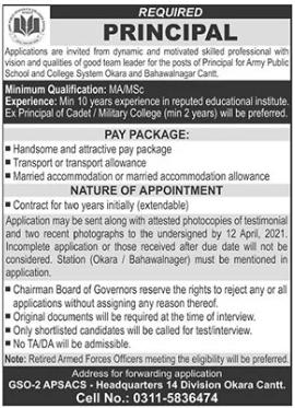 Army Public School Job 2021 in Okara Cantt for Principal