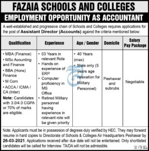 Assistant Director Peshawar Jobs 2021 at Fazaia Schools & Colleges