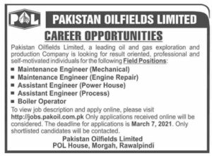 Assistant Engineer Jobs 2021 at Pakistan Oilfields Limited POL