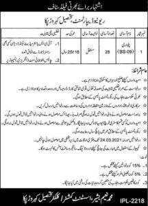 Board of Revenue Jobs 2021 for Patwari Different District