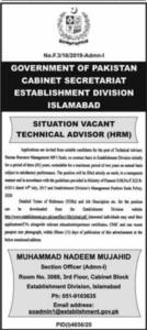 Cabinet Secretariat Latest Job 2021 For Technical Advisor in Islamabad