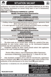 Commercial Lawyer Jobs 2021 at Law & Parliamentary Affairs Department