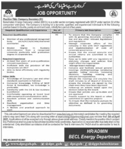 Company Secretary Jobs 2021 in Balochistan Energy Company