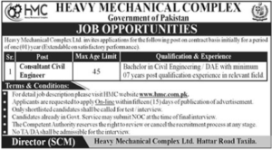 Consultant Jobs 2021 at Heavy Mechanical Complex Taxila