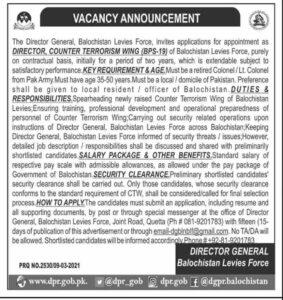 Counter Terrorism Jobs 2021 at Balochistan Levies Force