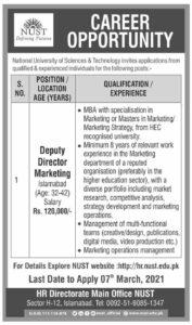 Deputy Director Marketing Latest Job 2021 in Islamabad