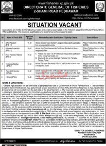 Directorate General of Fisheries ATS Jobs 2021 in Peshawar