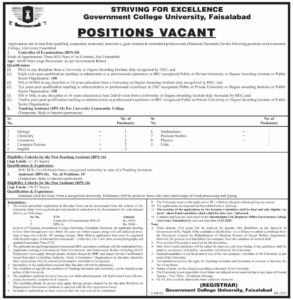 Government College University Jobs 2021 for Controller of Examination