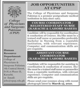 College of Physician & Surgeons CPSP Jobs 2021 at Human Resources Department