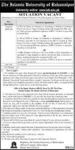Islamia University Bahawalpur Job 2021 for Treasurer