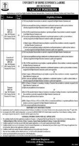 Jobs in Lahore 2021 for Registrar at University of Home Economics