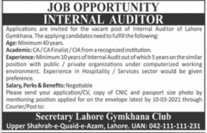 Lahore Gymkhana Club LGC Jobs 2021 for Internal Auditor