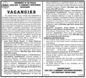 Local Government Department Jobs 2021 in Lahore