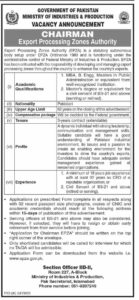 MBA Base Jobs 2021 at Ministry of Industries & Production Islamabad