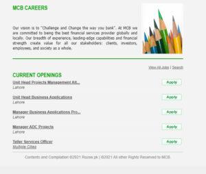 MCB Bank Jobs 2021 Apply Online
