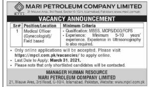 Medical Officer Jobs 2021 at Mari Petroleum Company