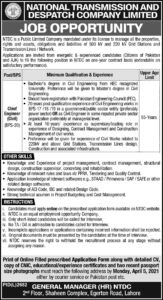 National Transmission & Despatch Company Jobs 2021 for Chief Engineer Civil etc