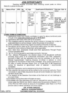 Nursing Jobs 2021 at Teaching Hospital for Charge Nurses