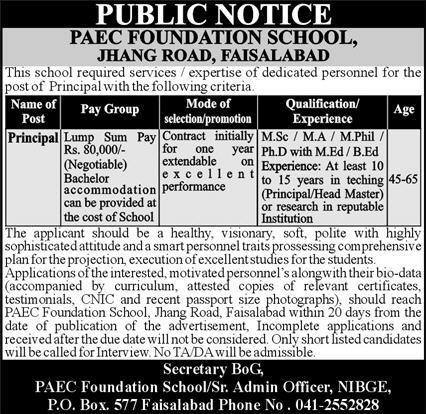 PAEC Foundation School Jobs 2021 for Principal
