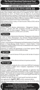 PEEF Job 2021 in Lahore at Punjab Education Endowment Fund