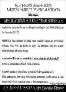 PIMS MBBS Jobs 2021 For House Trainees