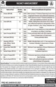 Pakistan Army Cadet College Jobs 2021 for Lab Assistant