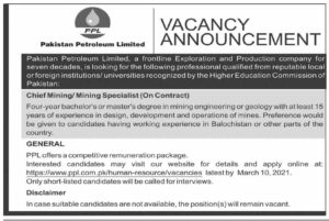 Pakistan Petroleum Limited PPL Jobs 2021 for Chief Mining
