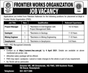 Project Manager Jobs 2021 at Frontier Works Organization FWO