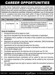 Public Sector Job 2021 For Crop Reporter in Peshawar KPK
