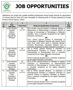 Punjab Forensic Science Agency NTS Jobs 2021 at Lahore