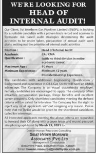 SNGPL Sui Northern Gas Pipelines Limited Karachi Jobs 2021