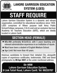 Section Head Female Jobs at Lahore Garrison Education System