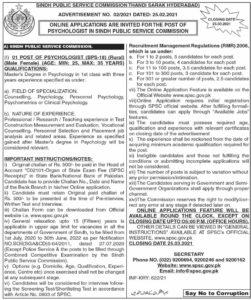 Sindh Public Service Commission SPSC Job 2021 for Psychologist