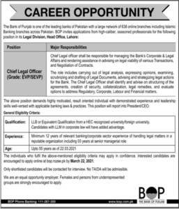 Bank of Punjab Jobs 2021 for Chief Legal Officer in Lahore