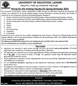 UE Visiting Faculty Jobs 2021-University of Education