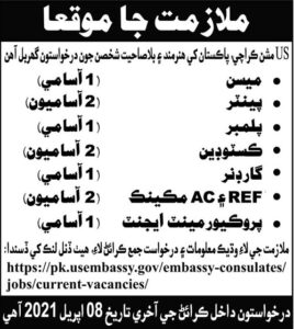 US Embassy 2021 Jobs For Management in Karachi