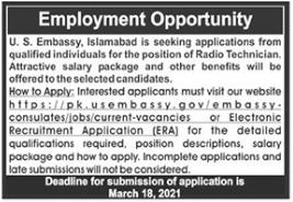 US Embassy Islamabad Jobs 2021