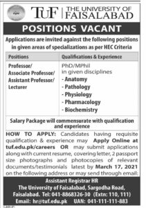 University of Faisalabad Jobs 2021 For Teaching Staffing