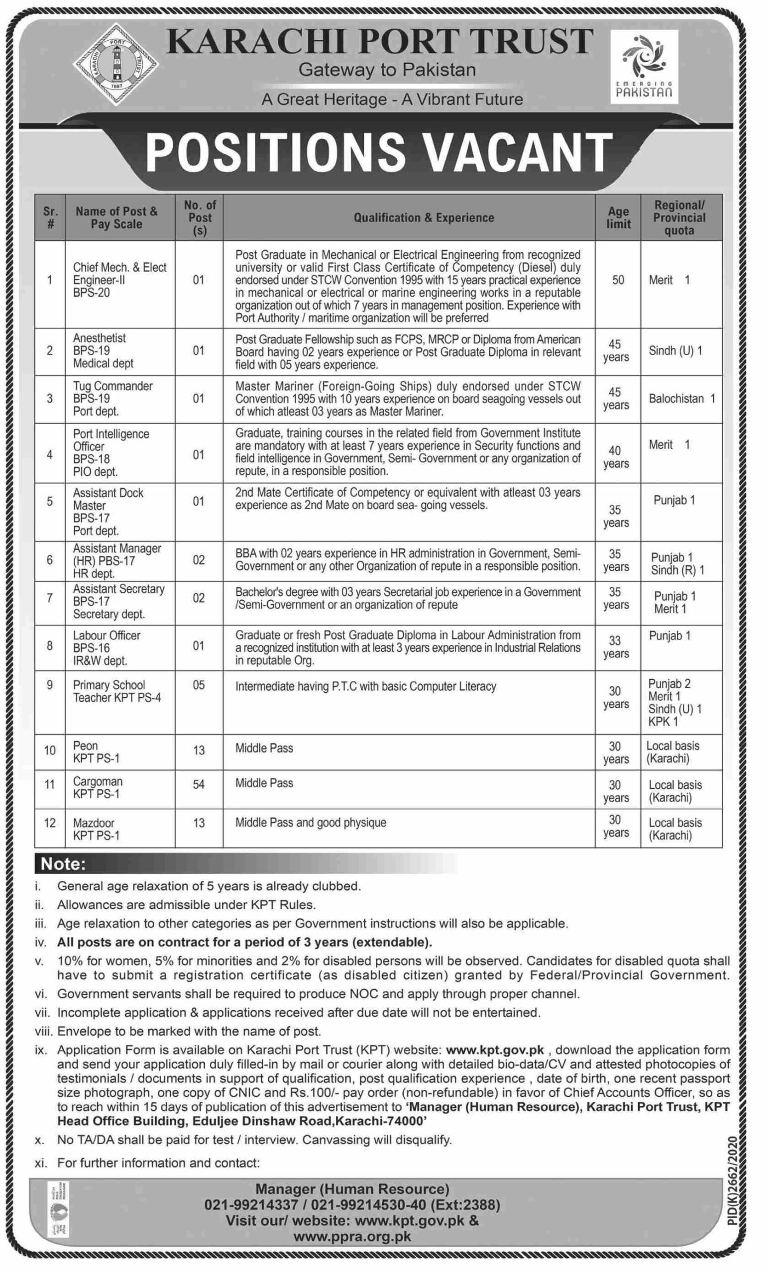 Karachi Port Trust Jobs 2021 in Karachi for Primary School Teacher