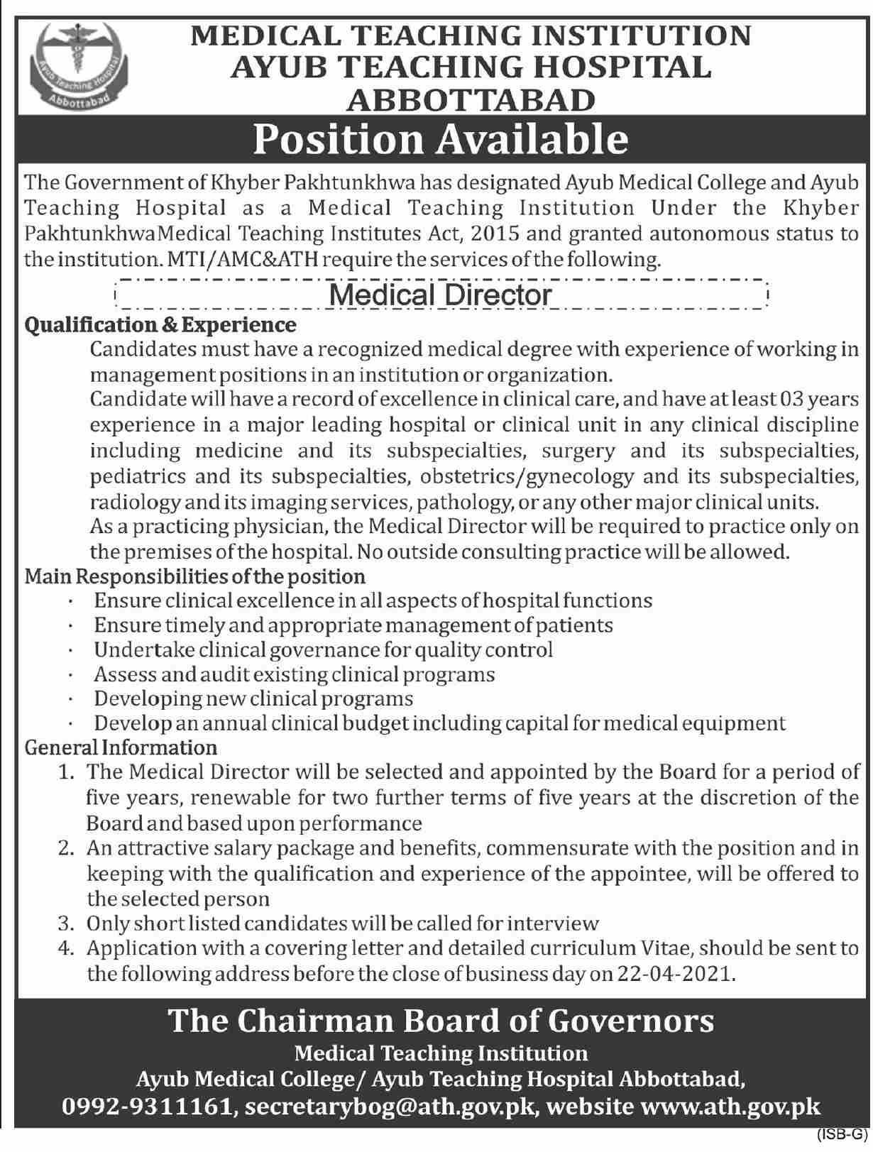 Medical Teaching Institution Jobs 2021 for Medical Director