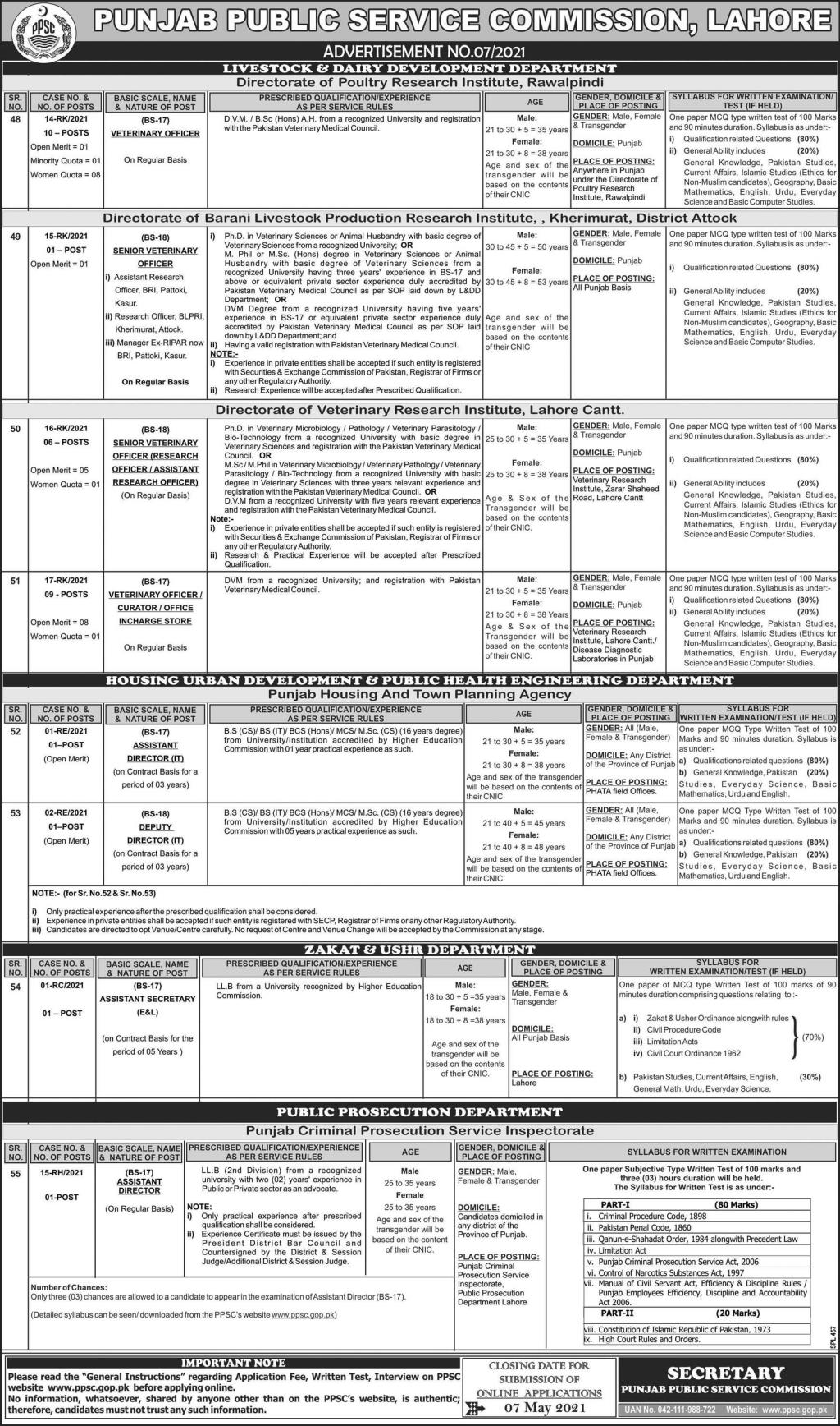 PPSC Jobs 2021 in Lahore Advertisement No. 07-2021